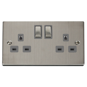 Click Deco Stainless Steel 13A Double Switched Socket VPSS536GY