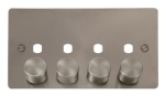 Click Define Brushed Steel 4 Gang Empty Dimmer Plate FPBS154PL