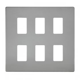 Click Definity Pol/Chrome 6 Gang Grid Pro Front Plate SCP20506CH