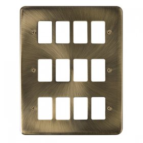 Click Deco Plus Ant/Brass 12 Gang Grid Pro Front Plate DPAB20512
