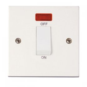 Click Polar 45A 1 Gang Single Cooker Switch with Neon PRW501
