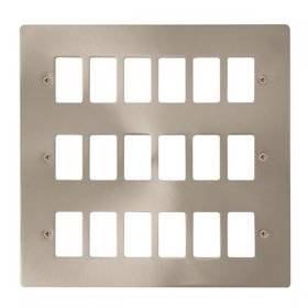 Click Define Brushed Steel 18 Gang Grid Pro Plate FPBS20518