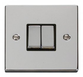 Click Deco Polished Chrome 2 Gang 2 Way Switch VPCH412BK