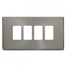 Click Definity B/Steel 4 Gang Grid Pro Front Plate SCP20404BS