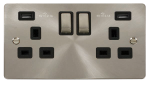 Click Define Brushed Steel Twin USB Double Socket FPBS580BK