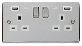 Click Deco Polished Chrome Twin USB Double Socket VPCH580WH