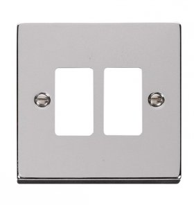 Click Deco Polished Chrome 2 Gang Grid Pro Front Plate VPCH20402