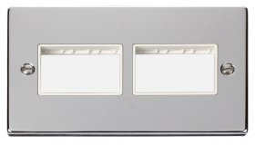 Click Polished Chrome Double Plate 6 Gang Aperture VPCH406WH
