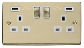Click Deco Polished Brass Twin USB Double Socket VPBR580WH