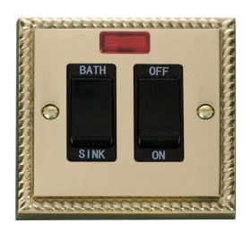 Click Deco Georgian Brass 20A DP Sink/Bath Switch GCBR024BK
