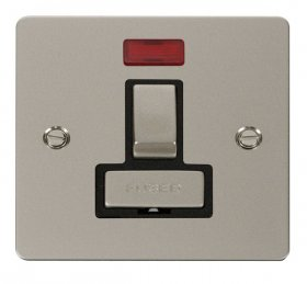 Click Define Pearl Nickel Switched Fused Spur + Neon FPPN752BK