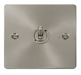 Click Define Brushed Steel 1 Gang 2 Way Toggle Switch FPBS421