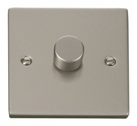 Click Deco Pearl Nickel 1 Gang 2 Way 400W Dimmer Switch VPPN140