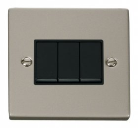 Click Deco Pearl Nickel 3 Gang 2 Way Switch VPPN013BK