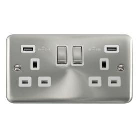 Click Deco Plus Satin Chrome Twin USB Double Socket DPSC580WH