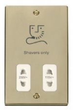 Click Deco Polished Brass Dual Voltage Shaver Socket VPBR100WH