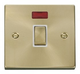 Click Deco Satin Brass 20A Double Pole Switch + Neon VPSB723WH