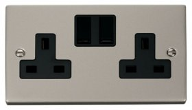 Click Deco Pearl Nickel 13A Double Switched Socket VPPN036BK