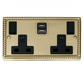 Click Deco Georgian Brass Type A & C USB Double Socket GCBR786BK
