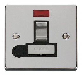 Click Deco Polished Chrome Switch Fuse Spur Neon + F/O VPCH552BK