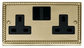 Click Deco Georgian Brass 13A Double Switched Socket GCBR036BK