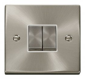 Click Deco Satin Chrome 2 Gang 2 Way Switch VPSC412WH