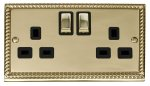 Click Deco Georgian Brass 13A Double Switched Socket GCBR536BK