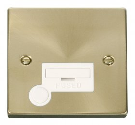 Click Deco Satin Brass Unswitched Fused Spur + F/O VPSB050WH