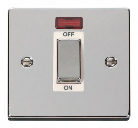 Click Deco Polished Chrome 1 Gang 45A DP Switch + Neon VPCH501WH