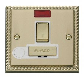 Click Deco Georgian Brass Switched Spur Neon + F/O GCBR552WH