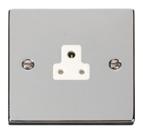 Click Deco Polished Chrome 2A Single Round Pin Socket VPCH039WH