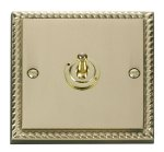 Click Deco Georgian Brass 1 Gang 2 Way Toggle Switch GCBR421