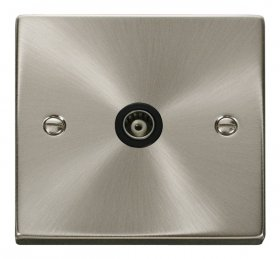 Click Deco Satin Chrome Single Isolated Coaxial Socket VPSC158BK