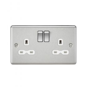 Knightsbridge Brushed Chrome 13A Double Switched Socket CL9BCW