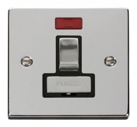 Click Deco Polished Chrome Switched Fused Spur + Neon VPCH752BK