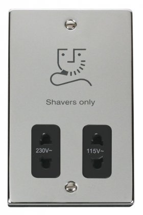 Click Deco Polished Chrome Dual Voltage Shaver Socket VPCH100BK