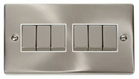 Click Deco Satin Chrome 6 Gang 2 Way Switch VPSC416WH