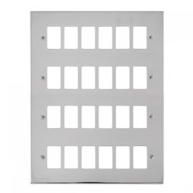 Click Deco Pol/Chrome 24 Gang Grid Pro Front Plate VPCH20524