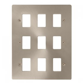 Click Define Brushed Steel 9 Gang Grid Pro Front Plate FPBS20509
