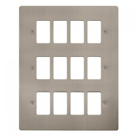 Click Define S/Steel 12 Gang Grid Pro Front Plate FPSS20512