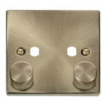 Click Antique Brass 2G Empty Dimmer Plate with Knob VPAB152PL