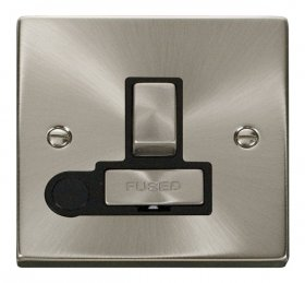 Click Deco Satin Chrome Switched Fused Spur + F/O VPSC551BK