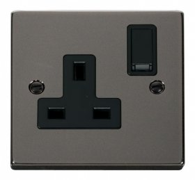 Click Deco Black Nickel 13A Single Switched Socket VPBN035BK