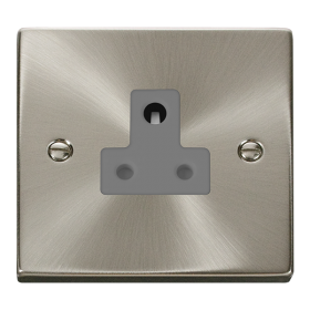 Click Deco Satin Chrome 5A Single Round Pin Socket VPSC038GY