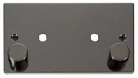 Click Deco Black Nickel Twin Dimmer Plate 1630W Max VPBN186