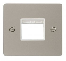 Click Define Pearl Nickel Single Plate 2 Gang Aperture FPPN402WH