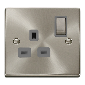 Click Deco Satin Chrome 13A Single Switched Socket VPSC535GY