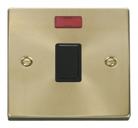 Click Deco Satin Brass 20A Double Pole Switch + Neon VPSB623BK