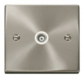 Click Deco Satin Chrome Single Isolated Coaxial Socket VPSC158WH