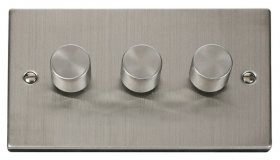 Click Deco Stainless Steel 3 Gang 2 Way Dimmer Switch VPSS153